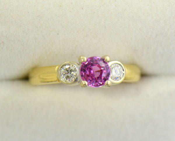 Round pink sapphire bezel diamond three stone ring 2.JPG