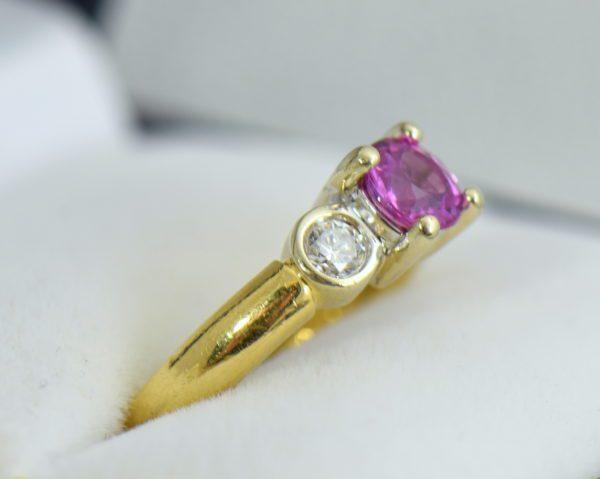 Round pink sapphire bezel diamond three stone ring 3.JPG
