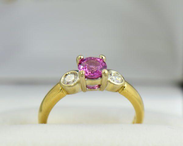 Round pink sapphire bezel diamond three stone ring 4.JPG