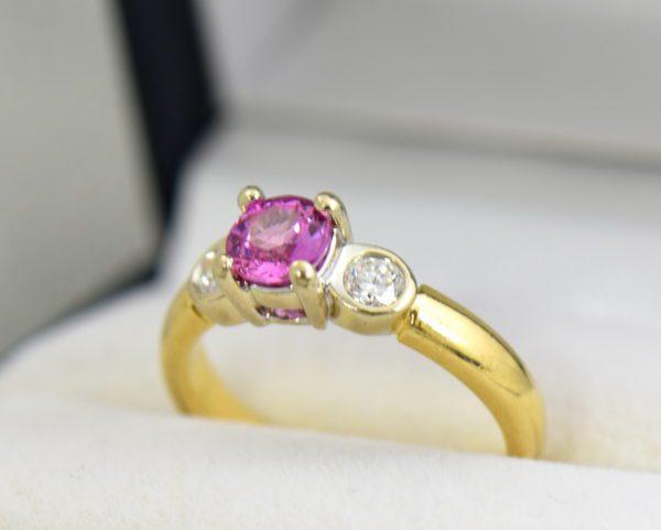 Round pink sapphire bezel diamond three stone ring 5.JPG