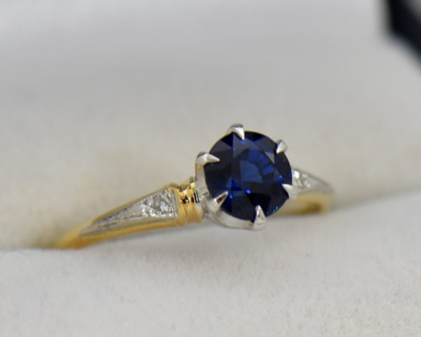 late deco granat bros navy blue sapphire engagement ring thin shank.JPG