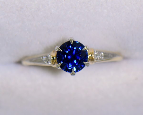 late deco granat bros navy blue sapphire engagement ring thin shank 3.JPG