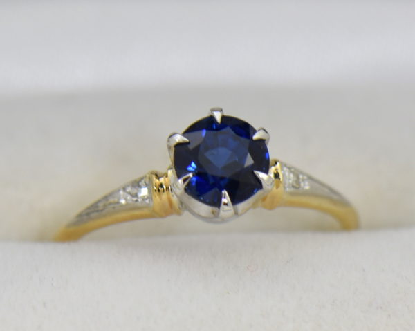 late deco granat bros navy blue sapphire engagement ring thin shank 4.JPG