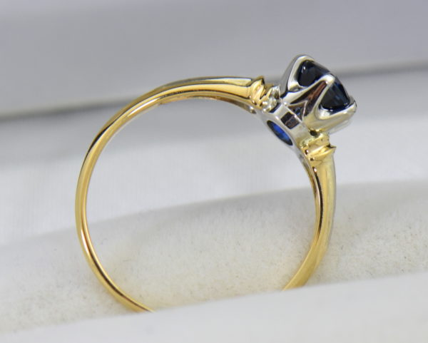 late deco granat bros navy blue sapphire engagement ring thin shank 6.JPG