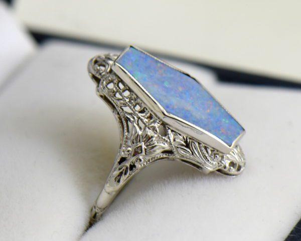 Art Deco filigree ring with hexagonal australian Opal 2.JPG