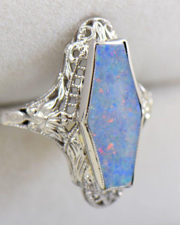 Art Deco filigree ring with hexagonal australian Opal 3.JPG