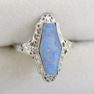 Art Deco filigree ring with hexagonal australian Opal 4.JPG