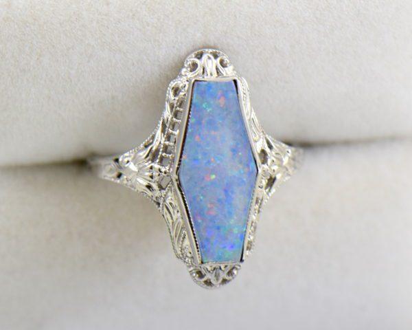 Art Deco filigree ring with hexagonal australian Opal 4.JPG