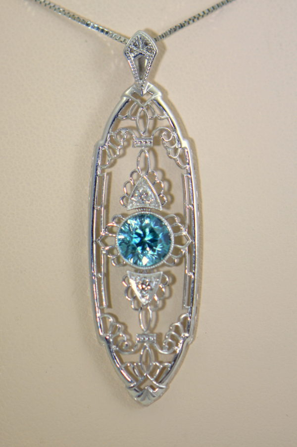 Deco Blue Zircon Pendant with White Gold Filigree 4.JPG