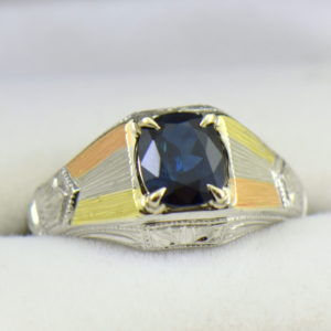 Deco Gents Sapphire Ring in Tricolor Gold.JPG