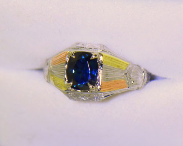 Deco Gents Sapphire Ring in Tricolor Gold 3.JPG