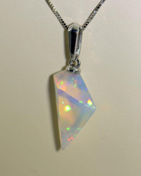 Freeform Crystal Opal Bead Pendant in White Gold.JPG