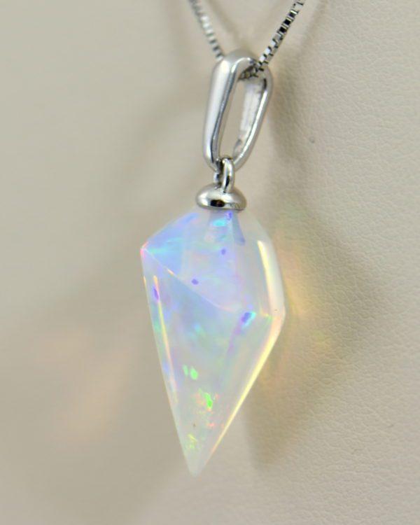 Freeform Crystal Opal Bead Pendant in White Gold 2.JPG