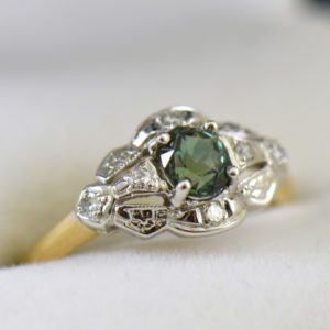 Late Deco Twotone Gold Ring with Sri Lankan Alexandrite.JPG