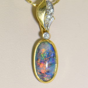 Lightning Ridge Black Opal Nobby Double Sided Spinning Pendant 18k