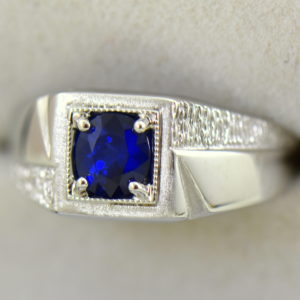 Mid Century Mens Ring with Dark Blue Sapphire 2.JPG