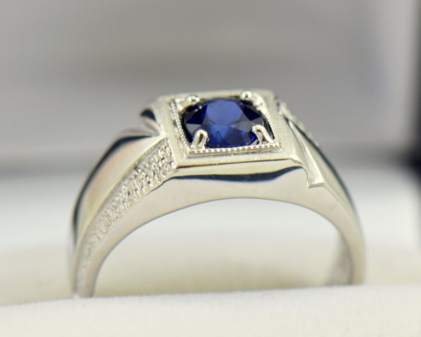 Mid Century Mens Ring with Dark Blue Sapphire 3.JPG