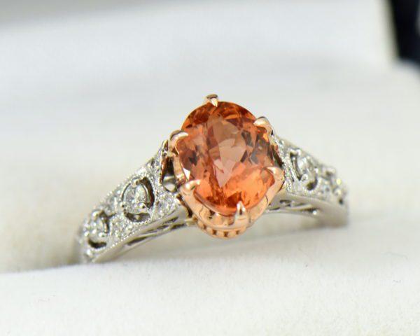 Peachy Pink Imperial Topaz Diamond Ring.JPG