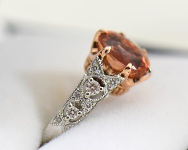 Peachy Pink Imperial Topaz Diamond Ring 2.JPG