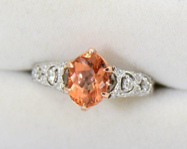 Peachy Pink Imperial Topaz Diamond Ring 3.JPG