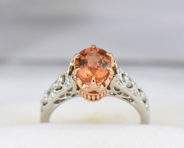Peachy Pink Imperial Topaz Diamond Ring 4.JPG