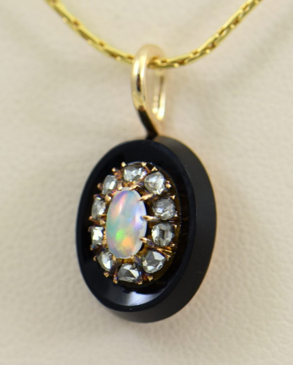 Victorian Gold Opal Rose Cut Diamond Onyx Pendant 2.JPG 1