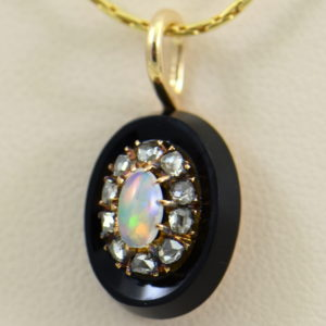 Victorian Gold Opal Rose Cut Diamond Onyx Pendant 2.JPG