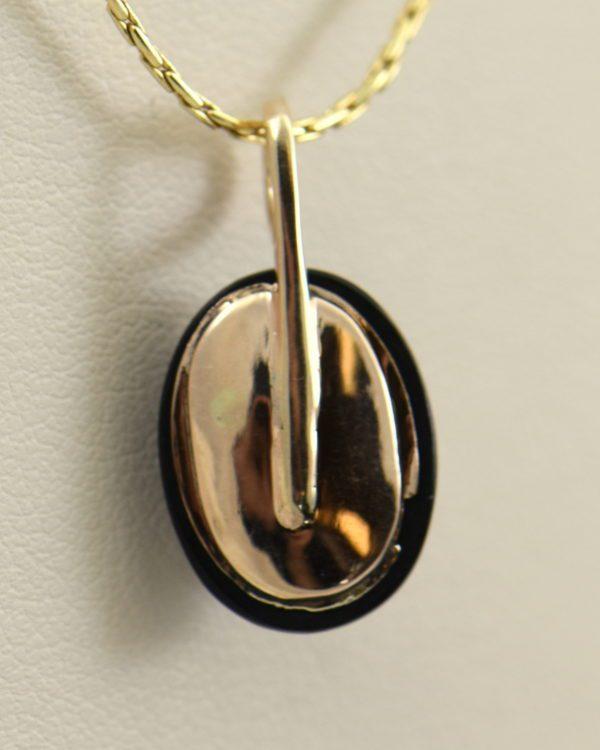 Victorian Gold Opal Rose Cut Diamond Onyx Pendant 3.JPG