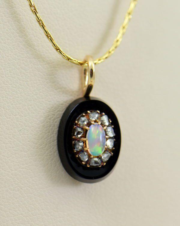 Victorian Gold Opal Rose Cut Diamond Onyx Pendant 4.JPG 1