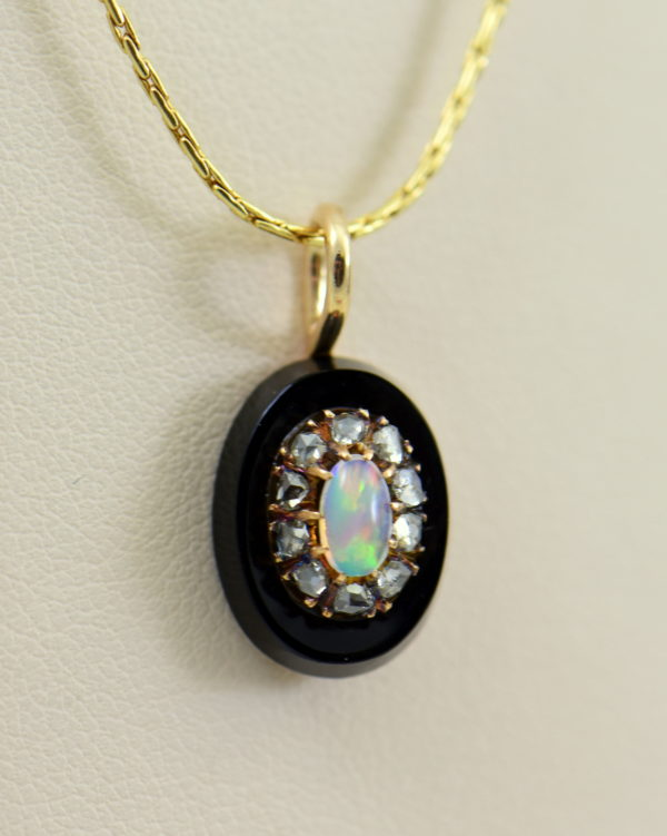 Victorian Gold Opal Rose Cut Diamond Onyx Pendant 4.JPG