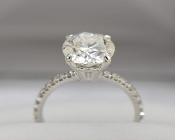 4ct moissanite solitaire engagement ring on thin diamond shank 7.JPG