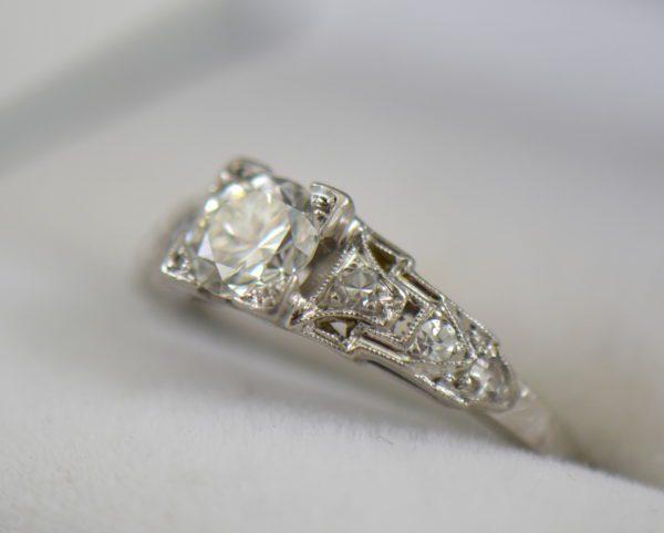 Art Deco Platinum .50ct Diamond Engagement Ring.JPG