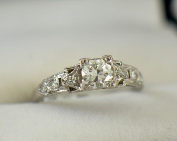 Art Deco Platinum .50ct Diamond Engagement Ring 3.JPG