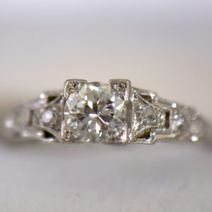 Art Deco Platinum .50ct Diamond Engagement Ring 4.JPG