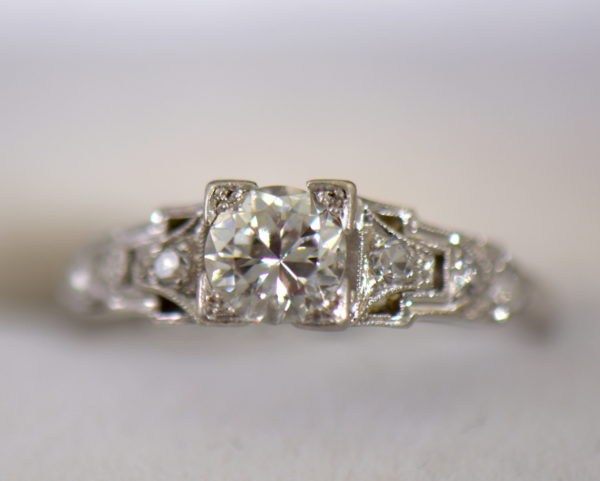 Art Deco Platinum .50ct Diamond Engagement Ring 4.JPG
