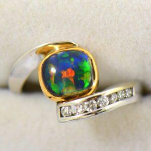 Barb s Custom Black Opal Diamond Bypass Ring 5.JPG