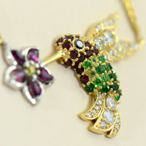 Custom Hummingbird Pendant with Rubies Tsavorite Diamonds Garnets in Yellow Gold 3.JPG