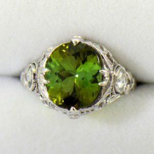 Deco Green Tourmaline Rose Cut Diamond Filigree Ring.JPG