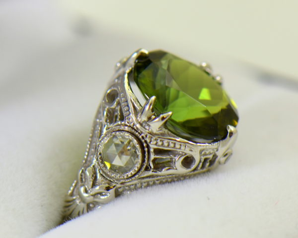 Deco Green Tourmaline Rose Cut Diamond Filigree Ring 3.JPG