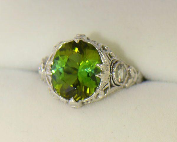 Deco Green Tourmaline Rose Cut Diamond Filigree Ring 4.JPG