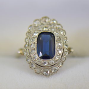 Edwardian Sapphire Ring in Rose Cut Diamond Double Halo.JPG