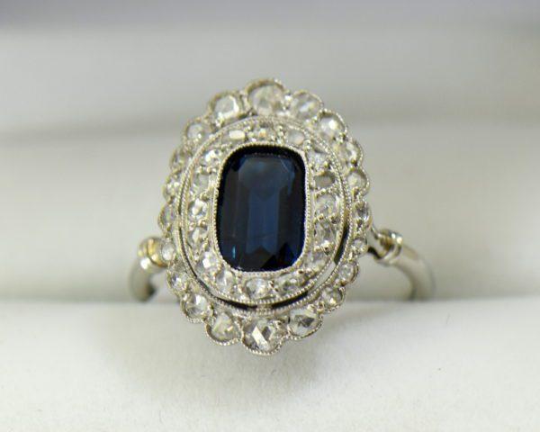 Edwardian Sapphire Ring in Rose Cut Diamond Double Halo 2.JPG