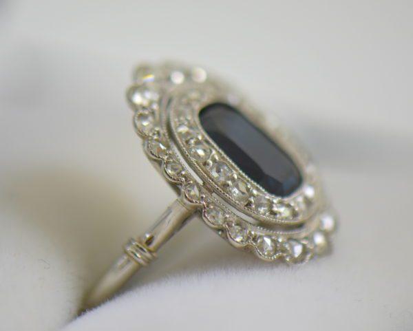 Edwardian Sapphire Ring in Rose Cut Diamond Double Halo 4.JPG
