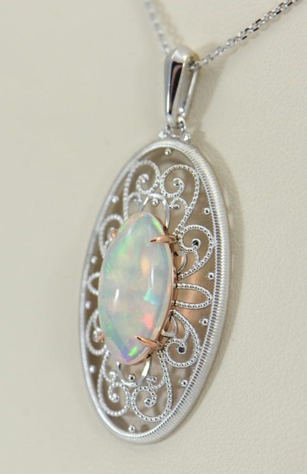 Ethiopian Opal White Gold Filigree Pendant.JPG