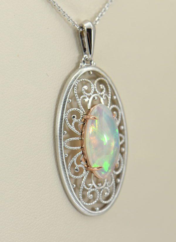 Ethiopian Opal White Gold Filigree Pendant 2.JPG