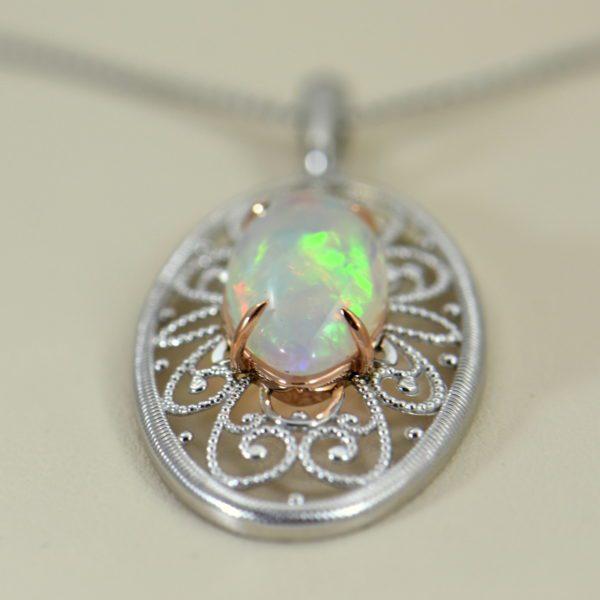 Ethiopian Opal White Gold Filigree Pendant 3.JPG