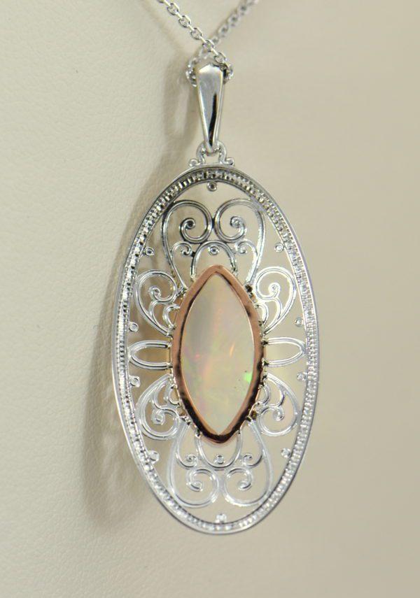 Ethiopian Opal White Gold Filigree Pendant 4.JPG
