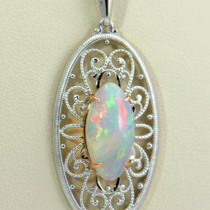 Ethiopian Opal White Gold Filigree Pendant 5.JPG