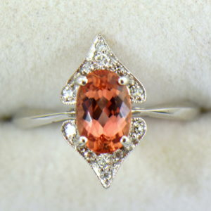 Gina s Mid Century White Gold Peach Pink Imperial Topaz Ring 4.JPG