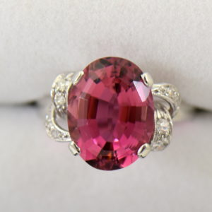 Mid Century Rosy Pink Tourmaline Cocktail Ring.JPG